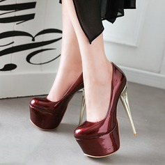 Women's Leatherette Chunky Heel Pumps Platform Closed Toe shoes