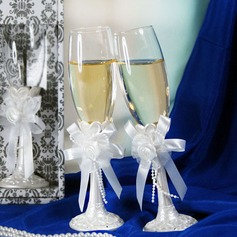 Elegant Toasting Flutes With Ribbon Bow