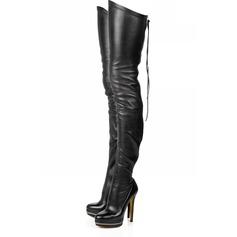 Konstläder Stilettklack Plattform Over The Knee Boots med Zipper skor