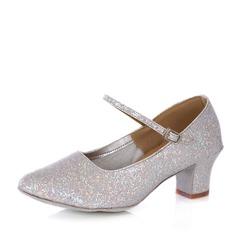 Women's Sparkling Glitter Heels Pumps Ballroom With Buckle Dance Shoes