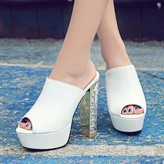 Women's Leatherette Chunky Heel Sandals Pumps Platform Peep Toe Slingbacks Slippers With Jewelry Heel shoes