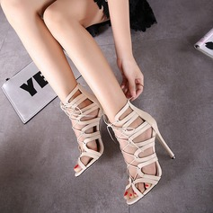 Women's Leatherette Stiletto Heel Boots Peep Toe Ankle Boots With Lace-up shoes
