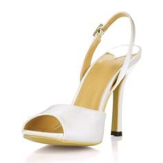 Women's Silk Like Satin Stiletto Heel Peep Toe Sandals Slingbacks