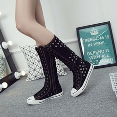 Women's Canvas Flat Heel Flats Closed Toe Boots With Zipper Lace-up shoes