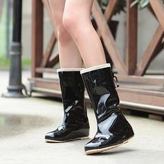 Women's Leatherette Flat Heel Closed Toe Rain Boots shoes