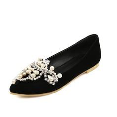 Femmes Suède Talon plat Chaussures plates Bout fermé avec Strass Perle d'imitation chaussures