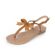 Leatherette Flat Heel Sandals Flip-Flops With Bowknot shoes