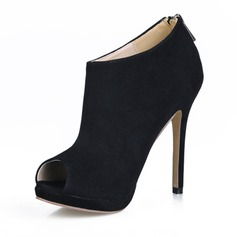 Suede Stiletto Heel Peep Toe Ankle Boots shoes