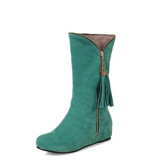 Women's Leatherette Wedge Heel Closed Toe Mid-Calf Boots shoes