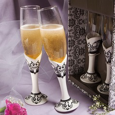 Elegant Lead-free Glass Toasting Flutes (Set Of 2)
