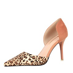 Women's Suede Stiletto Heel Pumps Closed Toe With Animal Print Others shoes