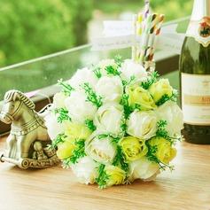 Délicat Rond Satin/Papier Bouquets de demoiselle d'honneur