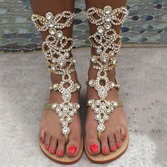 Women's Leatherette Flat Heel Sandals Flats Peep Toe Mid-Calf Boots With Rhinestone Zipper shoes