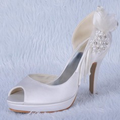 Women's Satin Cone Heel Peep Toe Platform Sandals With Beading Rhinestone