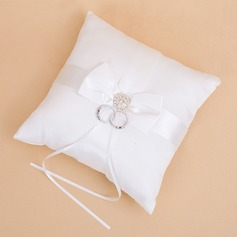 Simple Coussin pour alliances à Satiné avec Bow/Strass