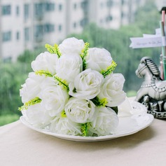 Charming Ivory Round Satin Bridesmaid Bouquets