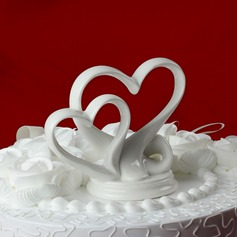 Double Hearts Ceramic Wedding Cake Topper