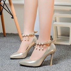 Women's Leatherette Stiletto Heel Pumps Closed Toe With Imitation Pearl Tassel shoes