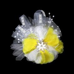 Magnifique Fil net et fleur en soie/Tulle Fleurs