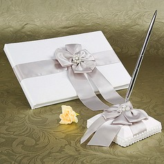 Beautiful Faux Pearl/Bow Guestbook & Pen Set