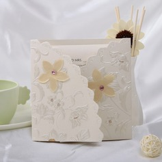 Floral Style Tri-Fold Invitation Cards (Set of 10)