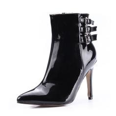 Kvinnor Lackskinn Stilettklack Boots med Spänne skor