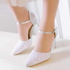 Women's Suede Stiletto Heel Pumps Closed Toe With Sparkling Glitter Buckle shoes