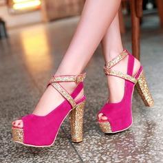 Women's Suede Chunky Heel Sandals Pumps Platform Peep Toe With Sparkling Glitter Buckle Jewelry Heel shoes
