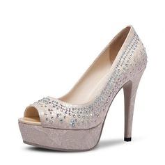 Women's Satin Stiletto Heel Peep Toe Pumps Beach Wedding Shoes With Rhinestone