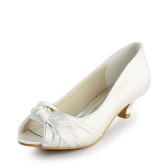 Women's Satin Low Heel Peep Toe Sandals With Bowknot