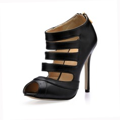 Leatherette Stiletto Heel Peep Toe Ankle Boots With Hollow-out