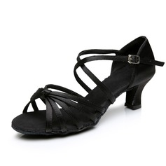 Women's Satin Heels Sandals Latin Dance Shoes