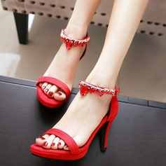 Women's Suede Stiletto Heel Sandals Pumps Peep Toe With Rhinestone shoes
