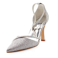 Women's Sparkling Glitter Stiletto Heel Closed Toe Pumps With Rhinestone
