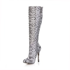 Women's Leatherette Stiletto Heel Closed Toe Boots Knee High Boots With Buckle Animal Print Zipper shoes