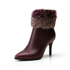 Women's Leatherette Stiletto Heel Pumps Ankle Boots With Fur shoes