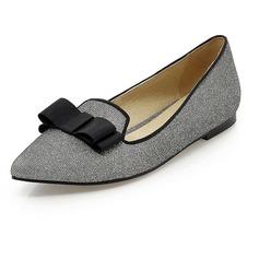 Pailletes scintillantes Talon plat Chaussures plates Bout fermé avec Un nœud chaussures