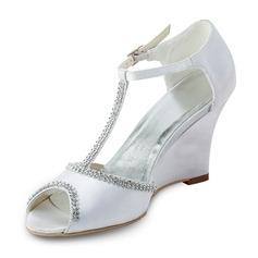 Women's Satin Wedge Heel Peep Toe Sandals Wedges With Beading
