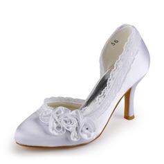 De mujer Satén Tacón Stilettos Cerrados Salón con Diamantes de imitación Flor del Satén Encaje
