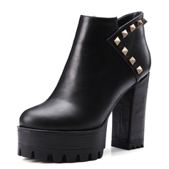 Women's Leatherette Chunky Heel Pumps Platform Closed Toe Boots Ankle Boots With Rivet shoes