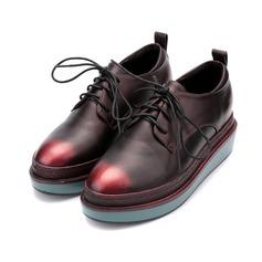 De mujer Cuero Tacón plano Planos Cerrados con Cordones zapatos