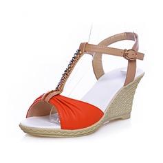 Leatherette Wedge Heel Sandals Pumps Peep Toe Slingbacks With Rhinestone Buckle shoes