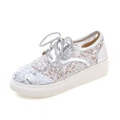 Women's Leatherette Lace Flat Heel Flats Closed Toe shoes