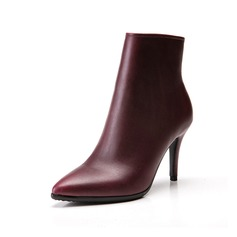 Women's Leatherette Stiletto Heel Pumps Ankle Boots With Zipper shoes