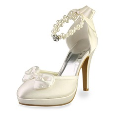 Women's Satin Cone Heel Closed Toe Platform Pumps With Bowknot Imitation Pearl Rhinestone