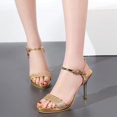 Women's Sparkling Glitter Stiletto Heel Sandals Pumps Peep Toe Slingbacks With Sparkling Glitter Buckle shoes