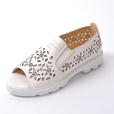 Women's Leatherette Flat Heel Flats Peep Toe shoes