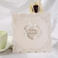 Heart Style Top Fold Invitation Cards With Ribbons (Set of 50)