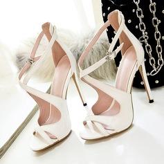 Women's Patent Leather Stiletto Heel Sandals Pumps Peep Toe With Buckle Zipper shoes