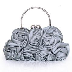 Elegante Seda con Flor Bolso de Mano
